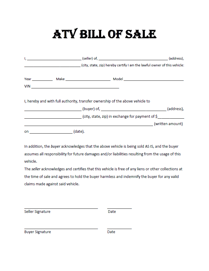 ATV Bill Of Sale  Bill Of Sale Generic