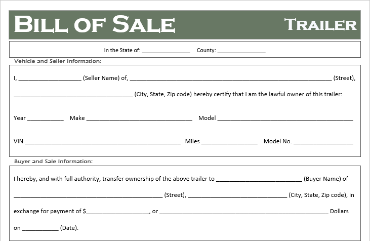 free printable trailer bill of sale all states off road freedom