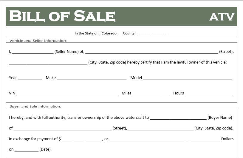 Free Colorado Atv Dirt Bike And Utv Bill Of Sale Template