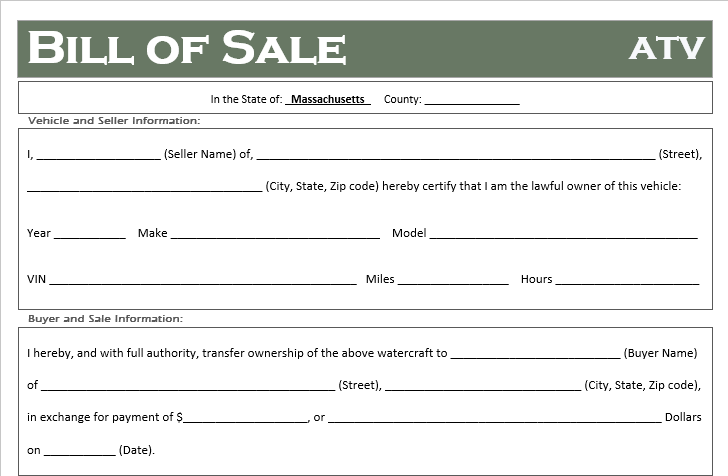 Massachusetts ATV Bill of Sale