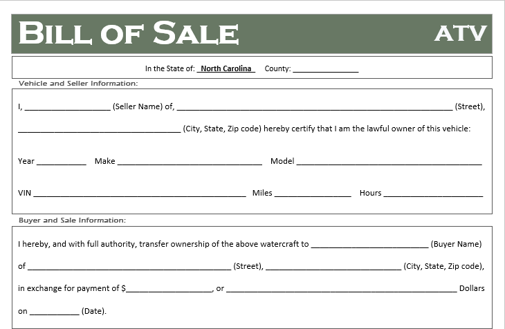 North Carolina ATV Bill of Sale