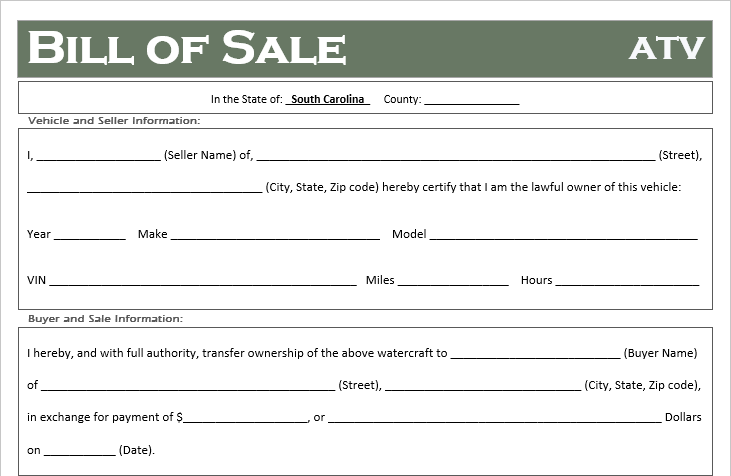 South Carolina ATV Bill of Sale