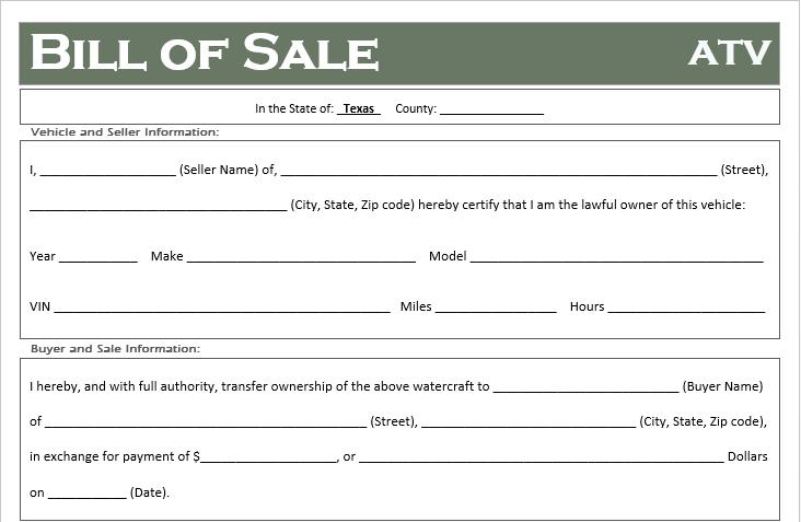 free texas atv dirt bike and utv bill of sale template off road