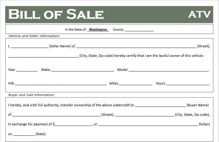 Washington ATV Bill of Sale