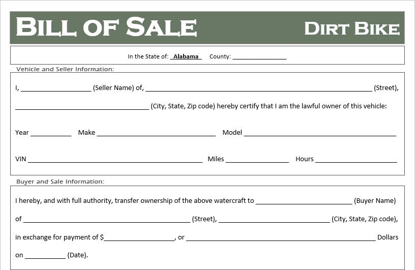 Alabama Dirt Bike Bill of Sale