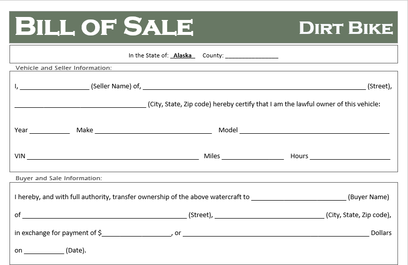 Alaska Dirt Bike Bill of Sale
