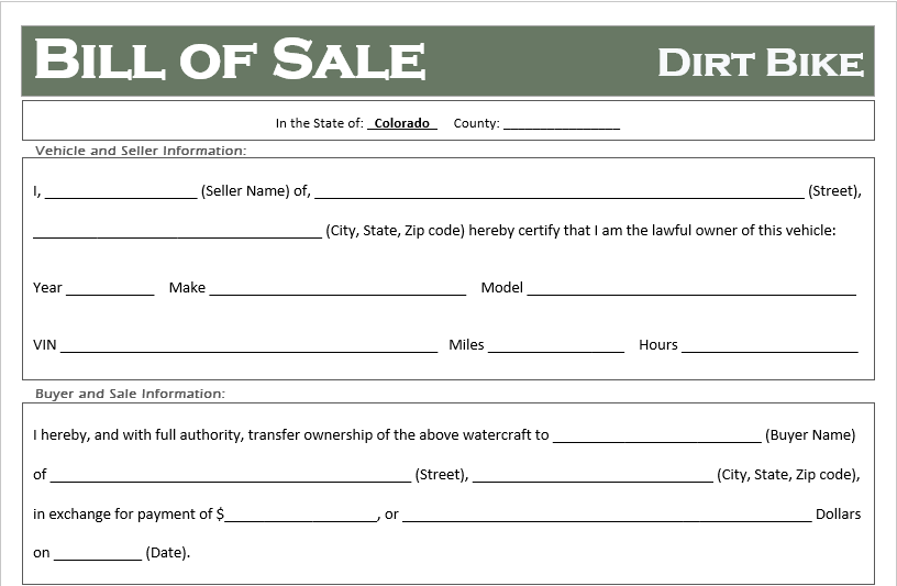 Colorado Dirt Bike Bill of Sale