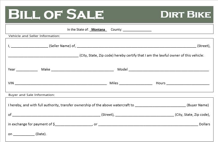 Montana Dirt Bike Bill of Sale