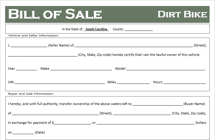 South Carolina Dirt Bike Bill of Sale