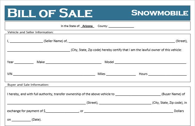 Arizona Snowmobile Bill of Sale