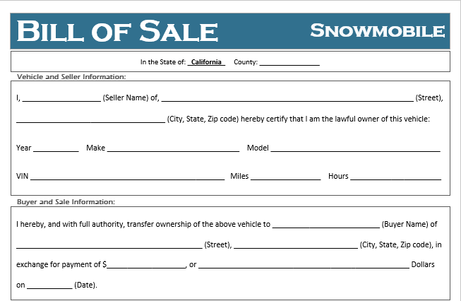 California Snowmobile Bill of Sale