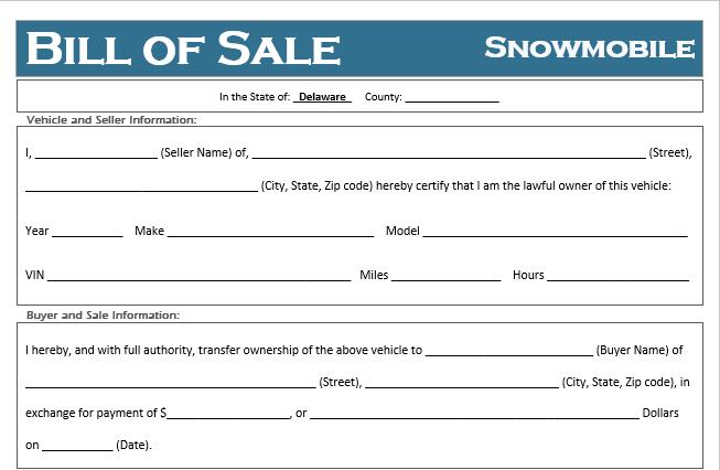 Delaware Snowmobile Bill of Sale