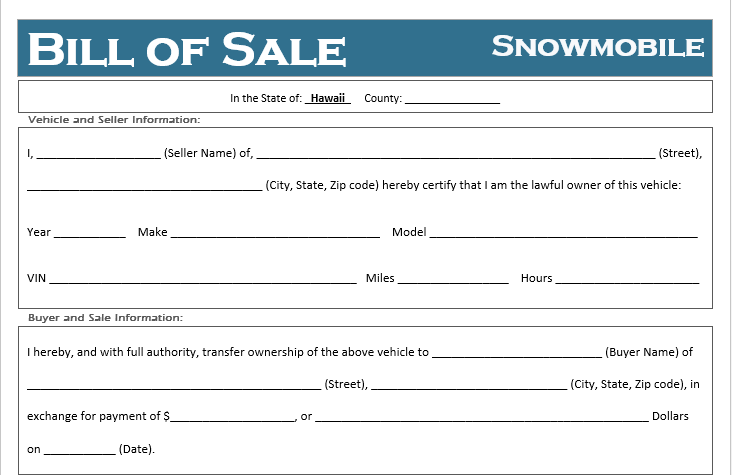 Hawaii Snowmobile Bill of Sale