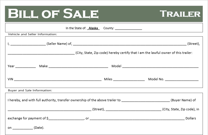 Alaska Trailer Bill of Sale