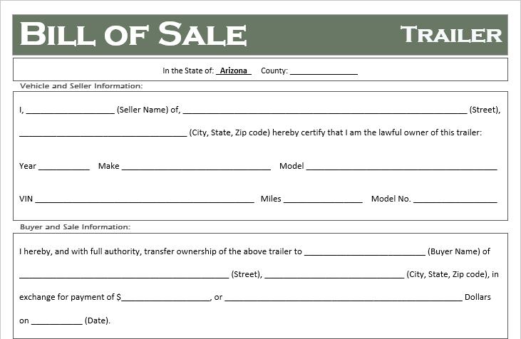 Arizona Trailer Bill of Sale