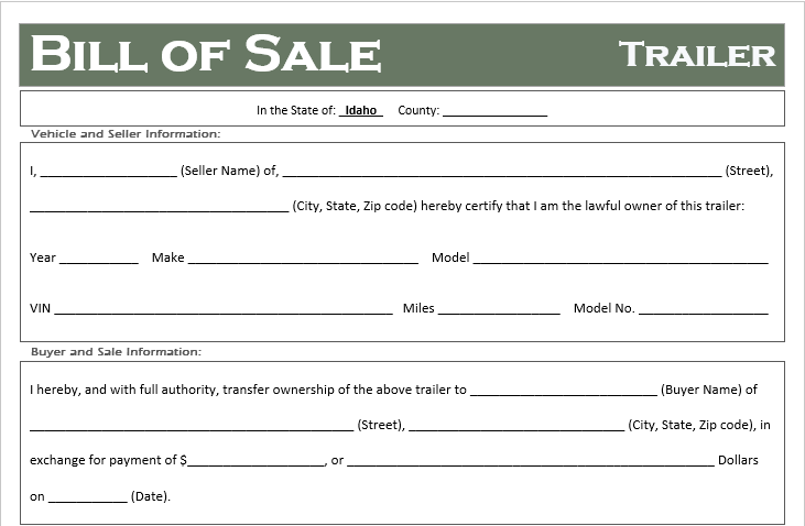 Idaho Trailer Bill of Sale