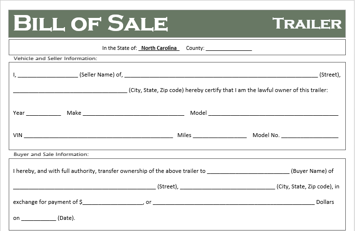 North Carolina Trailer Bill of Sale