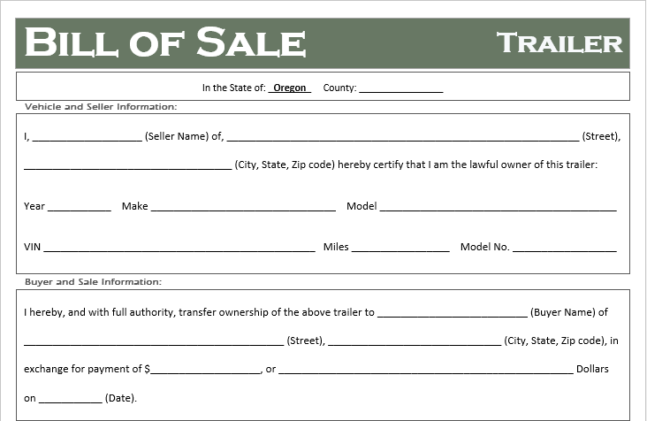 Oregon Trailer Bill of Sale
