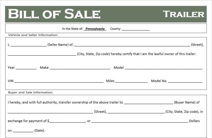 free pennsylvania trailer bill of sale template