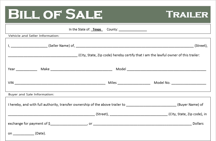 Texas Trailer Bill Of Sale