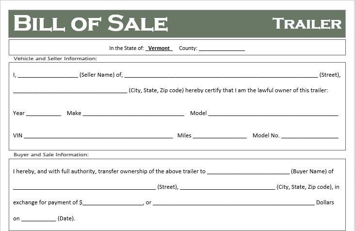 Vermont Trailer Bill of Sale