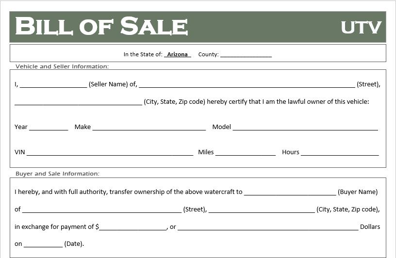 Arizona ATV Bill of Sale