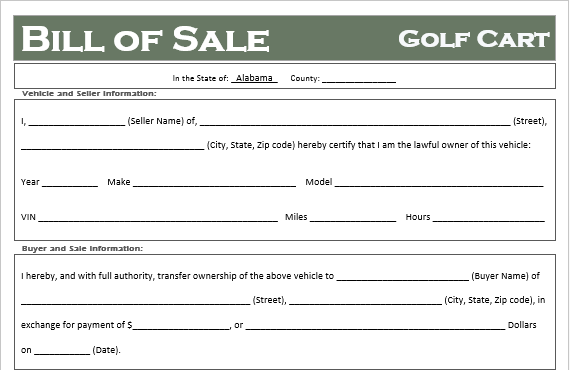 Alabama Golf Cart Bill of Sale
