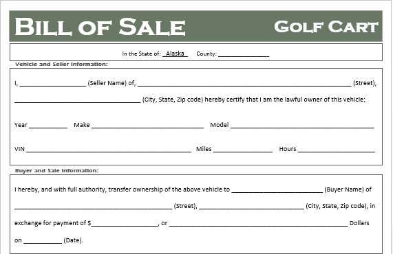 Alaska Golf Cart Bill of Sale