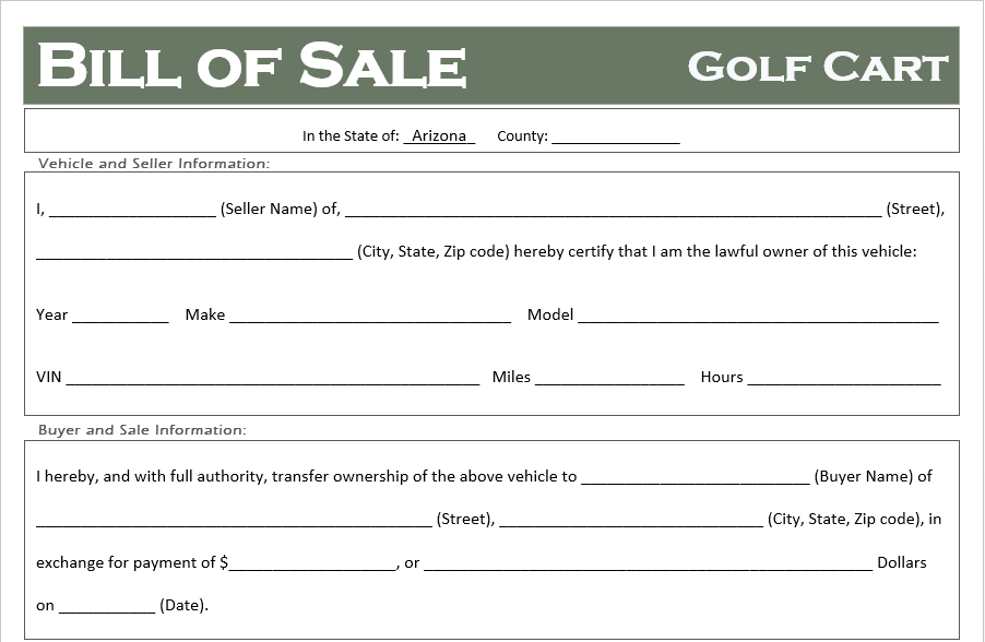 Arizona Golf Cart Bill of Sale