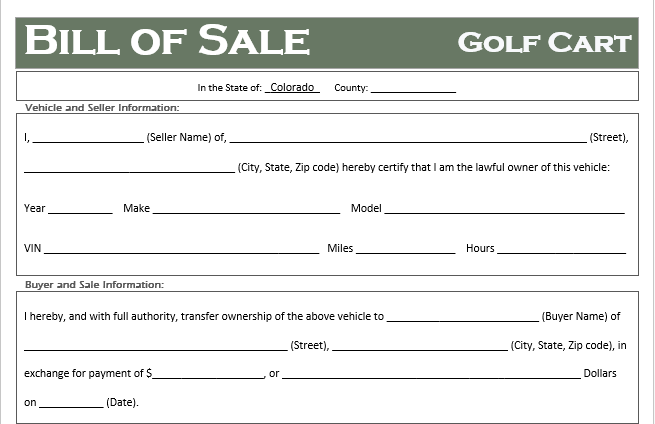 Colorado Golf Cart Bill of Sale