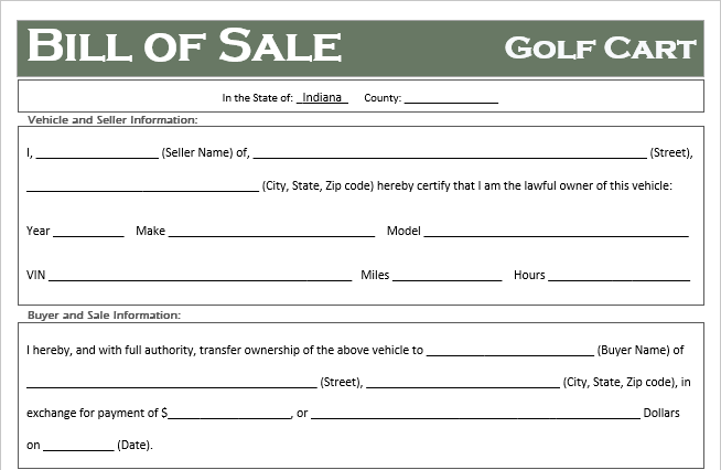 Indiana Golf Cart Bill of Sale