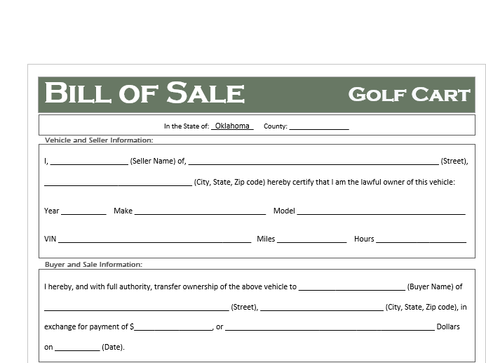 Oklahoma Golf Cart Bill of Sale