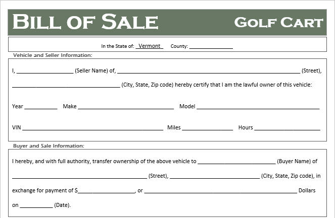 Vermont Golf Cart Bill of Sale
