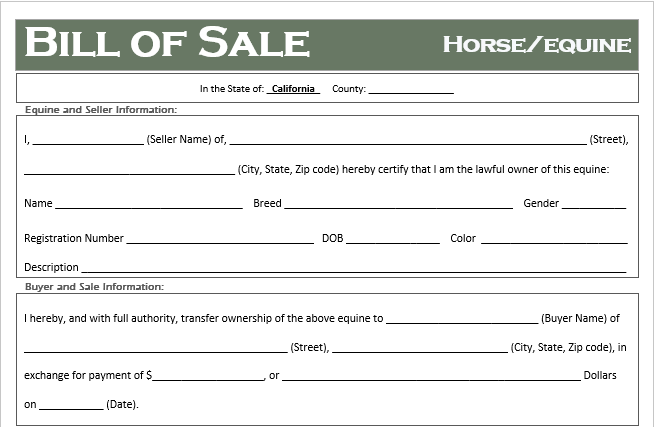 free california horse  equine bill of sale template