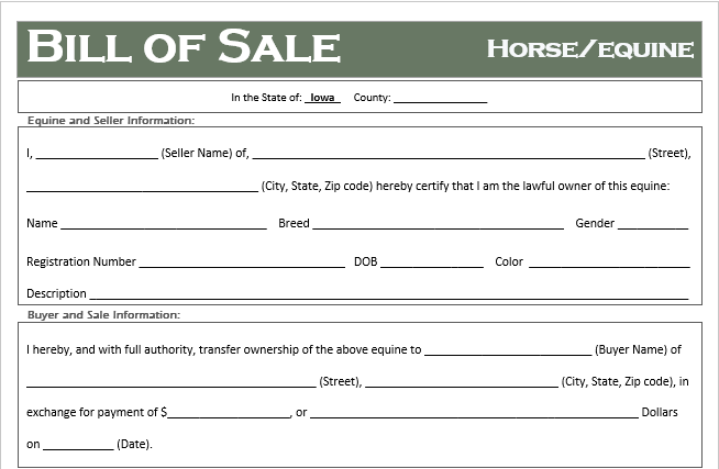 Iowa Horse Bill of Sale