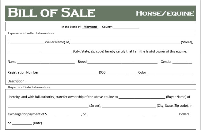 Maryland Horse Bill of Sale