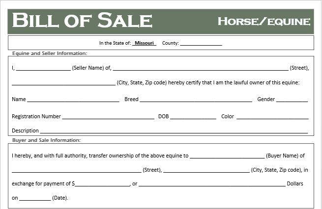 Missouri Horse Bill of Sale