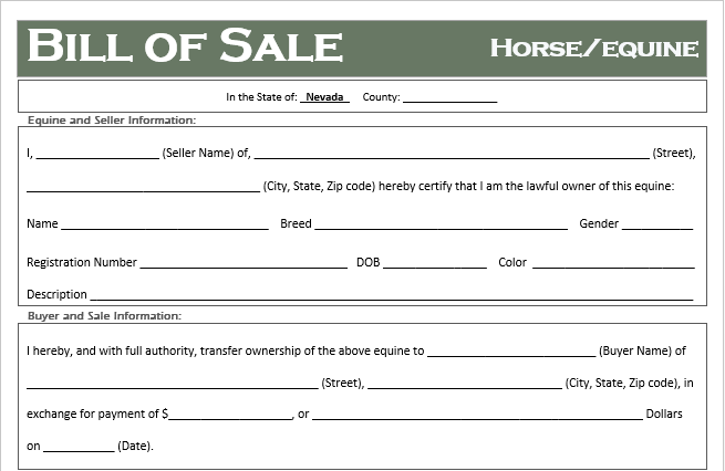 Nevada Horse Bill of Sale