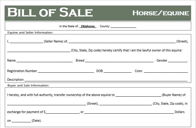 Oklahoma Horse Bill of Sale