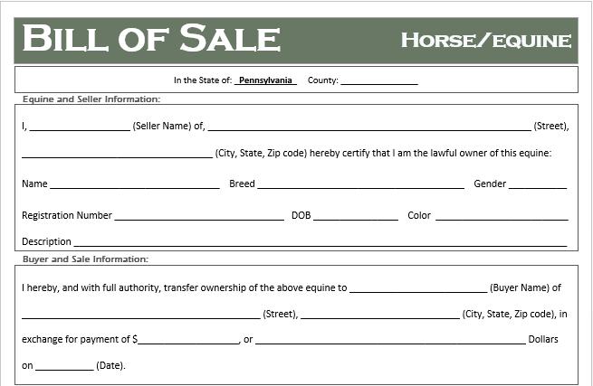 Pennsylvania Horse Bill of Sale