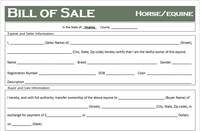 Virginia Horse Bill of Sale