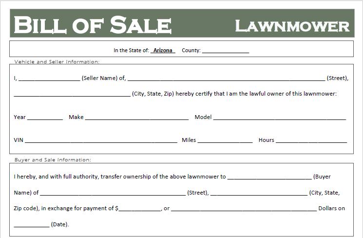Arizona Lawnmower Bill of Sale