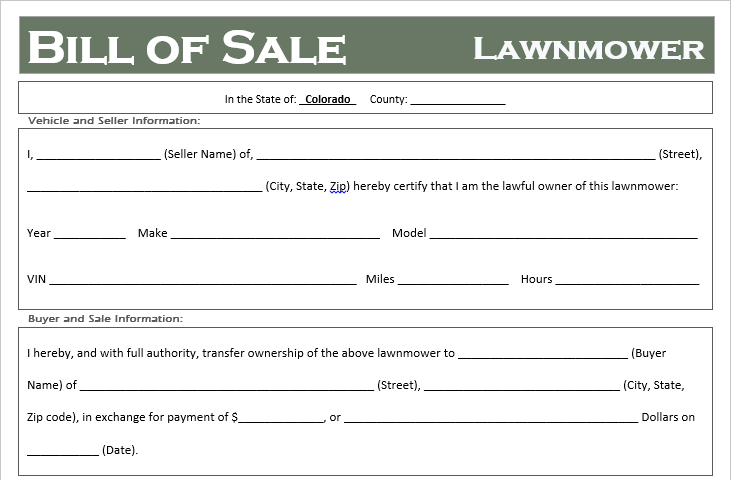 Colorado Lawnmower Bill of Sale