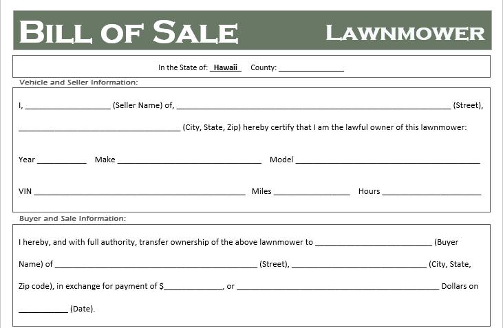 Hawaii Lawnmower Bill of Sale