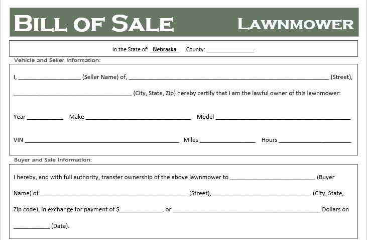 Nebraska Lawnmower Bill of Sale