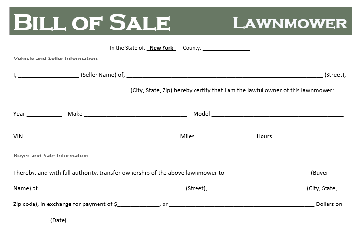 New York Lawnmower Bill of Sale