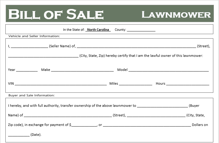 North Carolina Lawnmower Bill of Sale