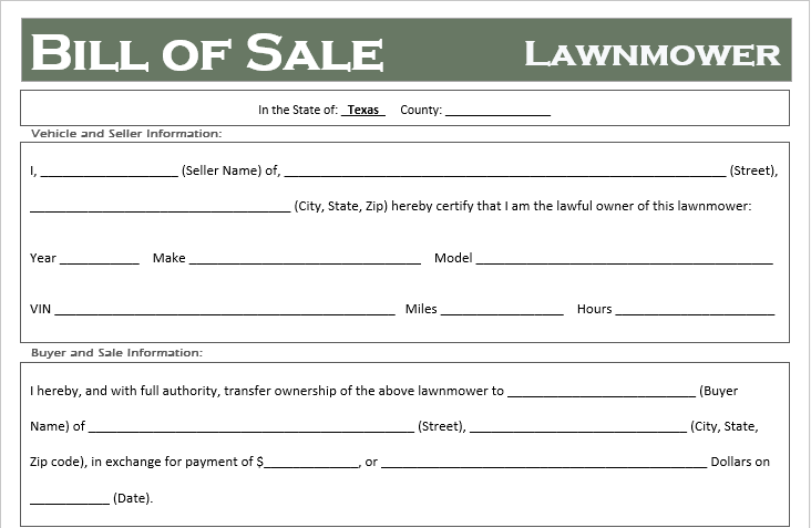 Texas Lawnmower Bill of Sale