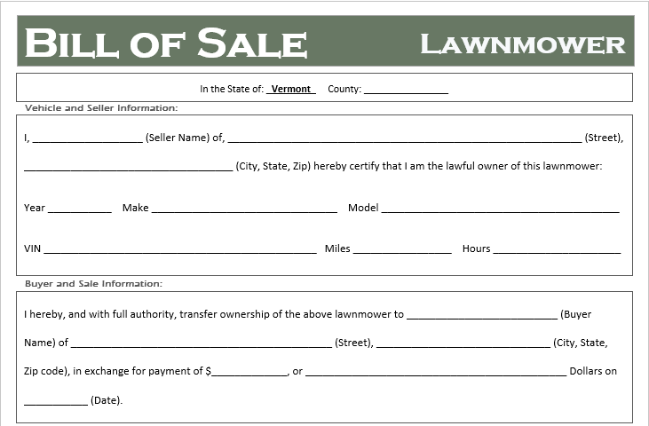 Vermont Lawnmower Bill of Sale