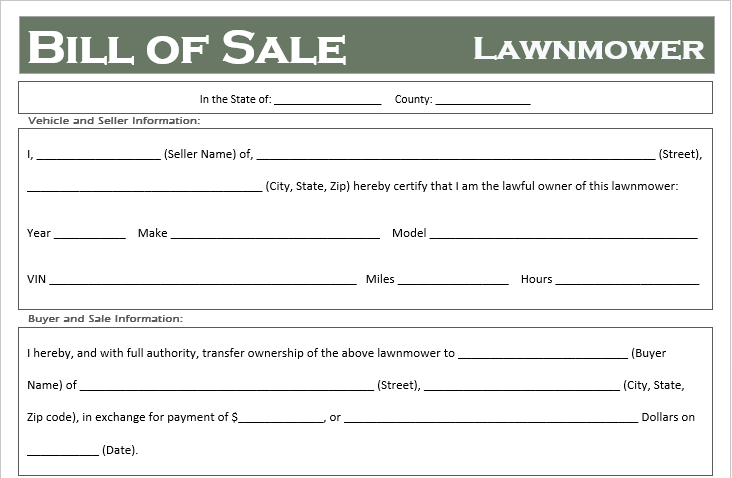 Lawnmower Bill of Sale